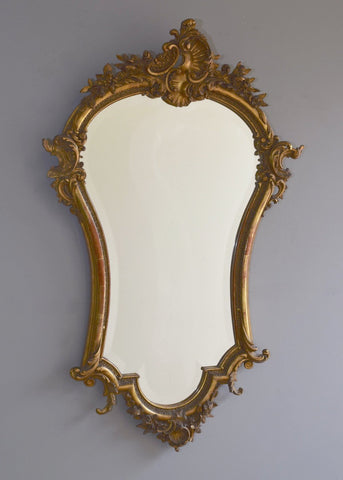 French Gilt Crested Mirror