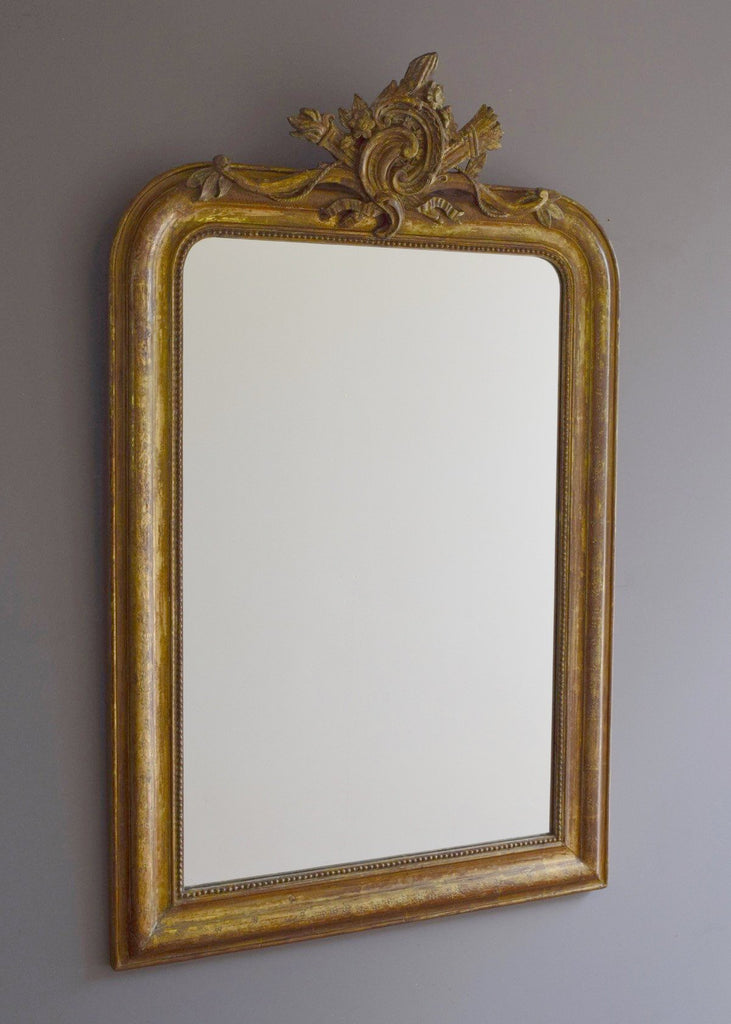 Medium Sized Late 19th Century French Crested Gilt Mirror