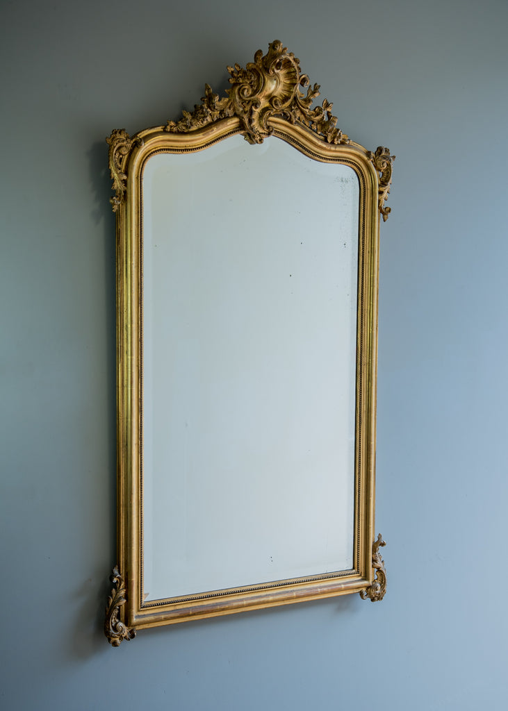 Large Late 19th Century French Crested Gilt Mirror