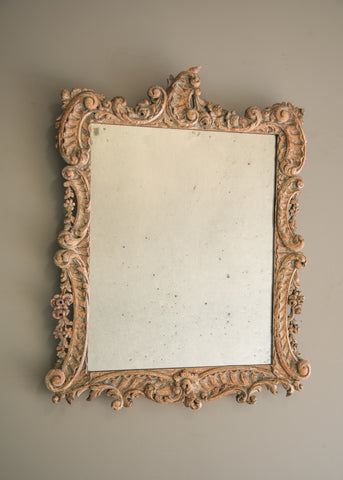 Carved Silver Gilt Antique Mirror