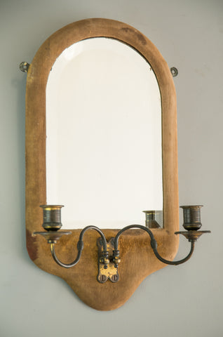 English Velvet Covered Mirror with Sconces