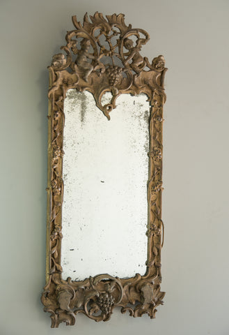 Carved Scandinavian Mirror | Rough Old Glass