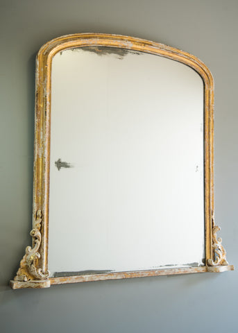 English Gilt & Painted Overmantel Antique Mirror