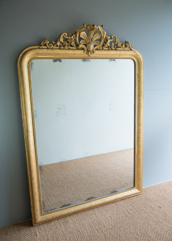 Large French Gilt Crested Mirror