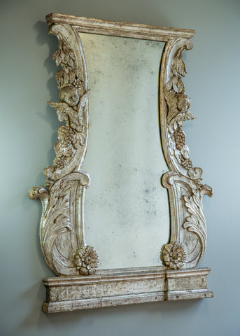 Italian Carved Silver Gilt Mirror