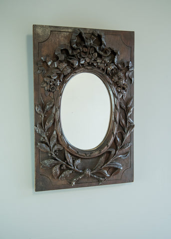 English Carved Oak Mirror