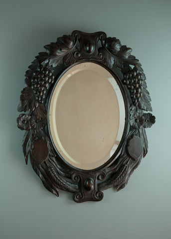 Black Forest Style Carved Mirror | Rough Old Glass