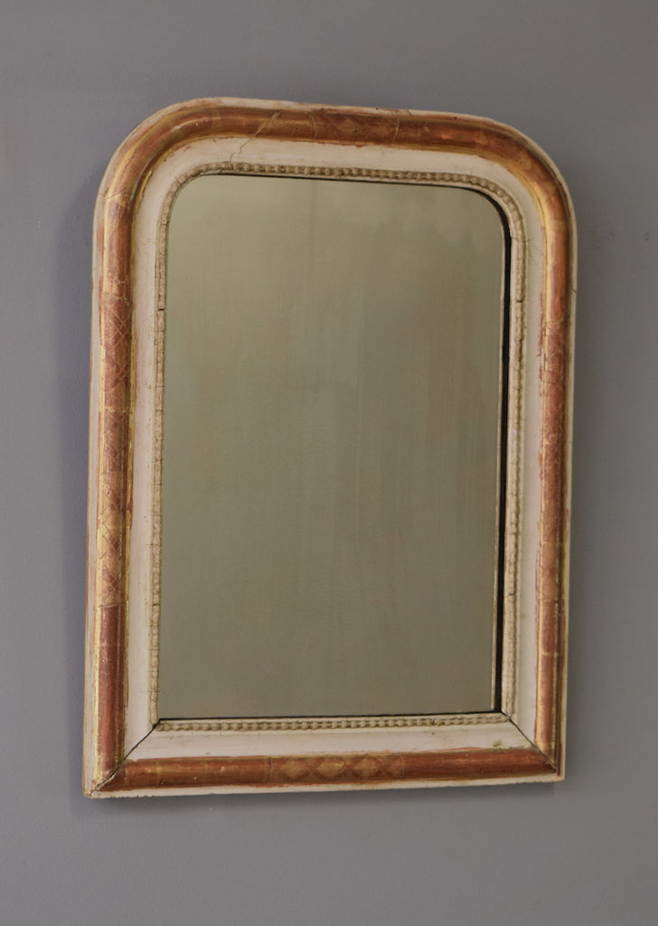 Late 19th Century French Gilt & Gesso Mirror with Scrolled Engravings