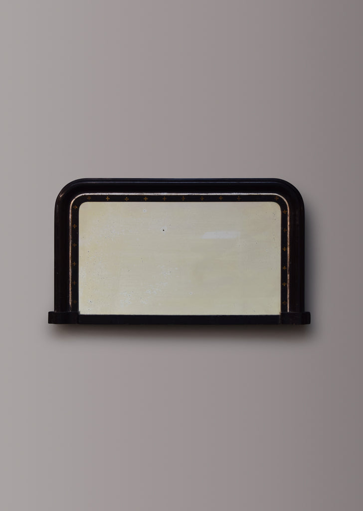 Late 19th Century English Ebonised Overmantel Mirror with Silver Gilt Bead