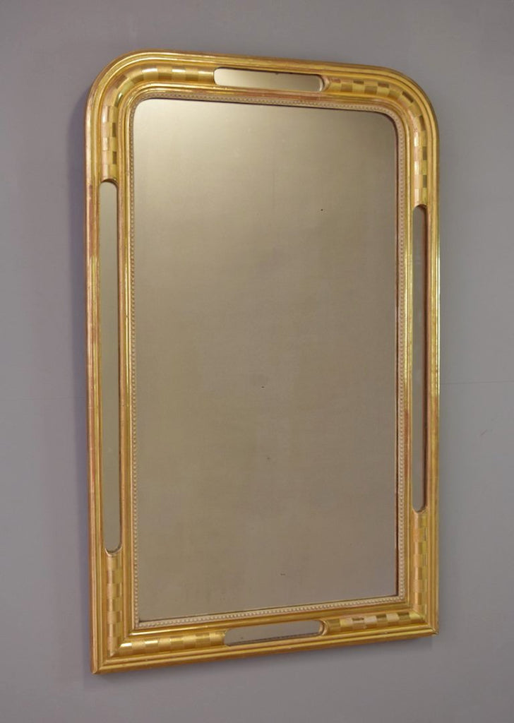 Late 19th Century French Gilt Mirror with Unusual Inset Mirror Panels