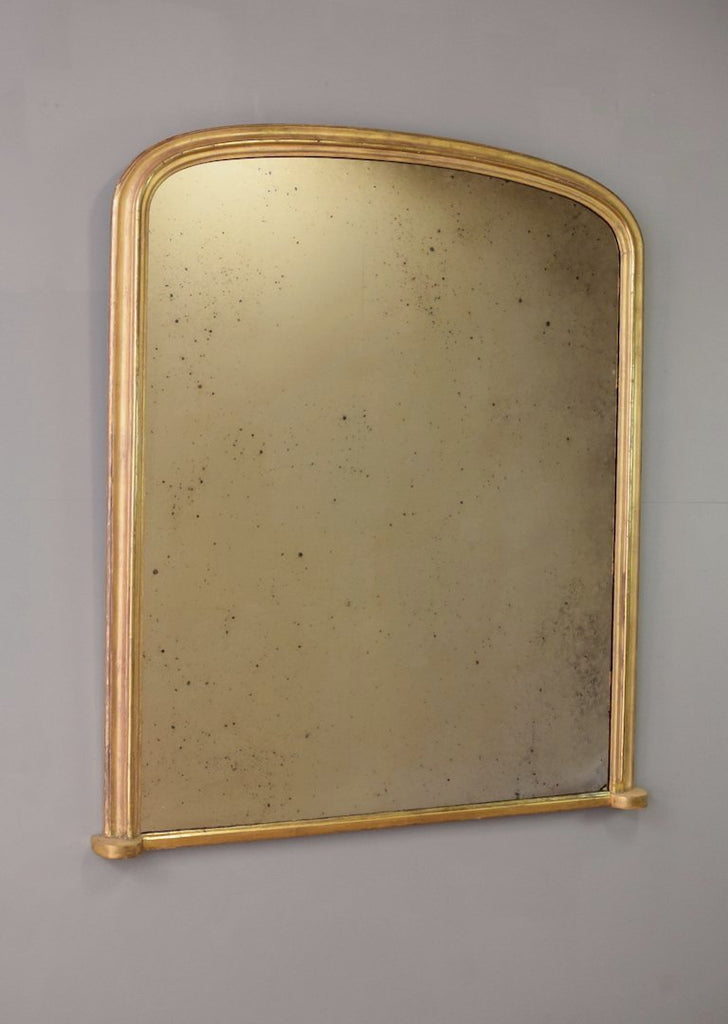 Late 19th Century English Warm Worn Gilt Overmantel Mirror