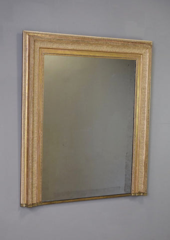 Late 19th Century Gilt Overmantel Mirror with Brass Plinth