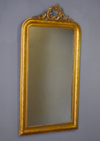Late 19th Century Gilt Crested Mirror