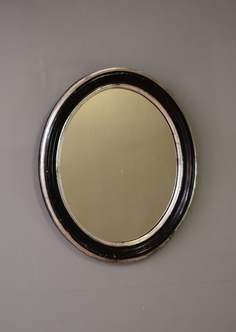 Mid 19th Century French Ebonised Oval Mirror