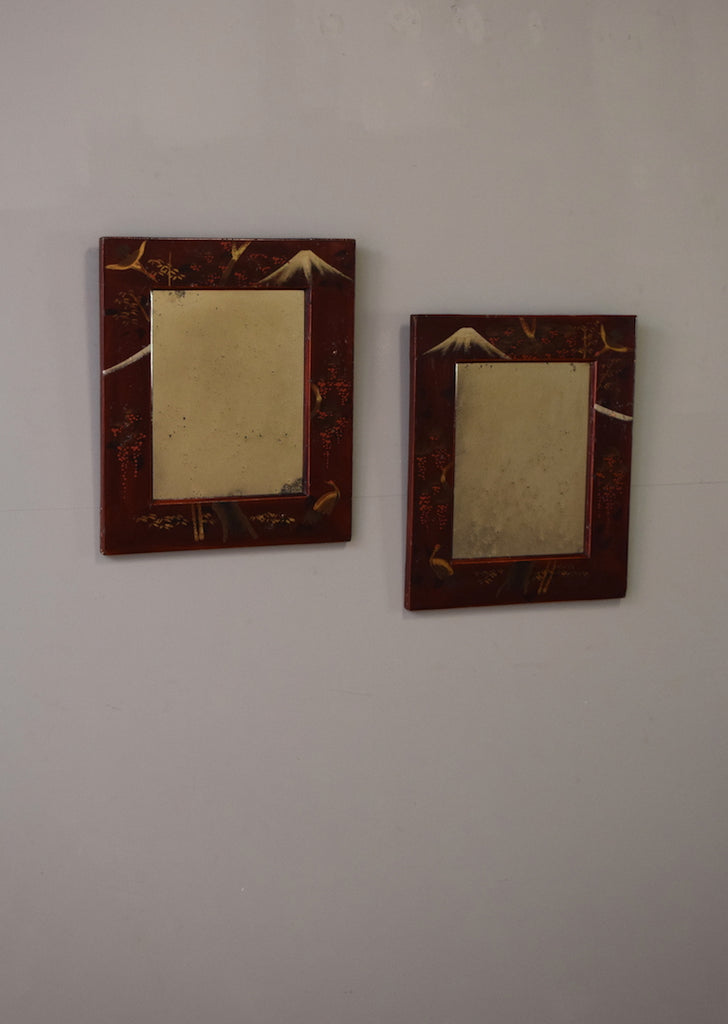Pair Of Oriental Lacquer Mirrors