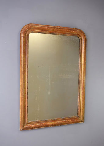 Late 19th Century French Gilt Mirror with Floral Engravings