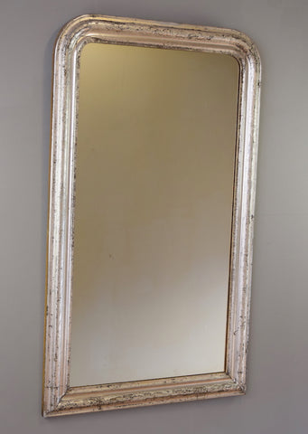Late 19th Century French Silver Gilt Mirror with Floral Engravings