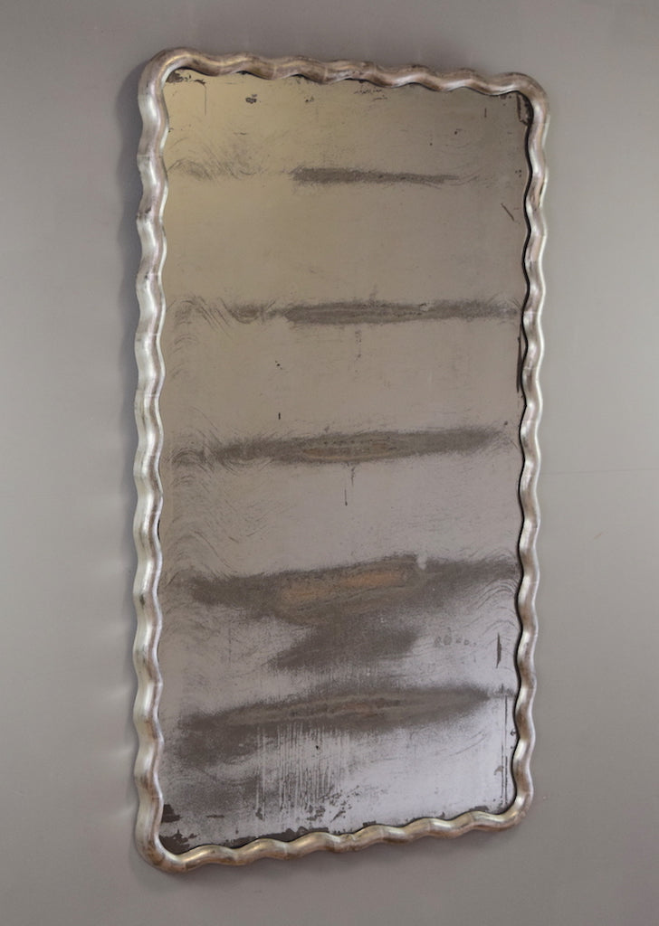 Late 19th Century French Silver Gilt Ripple Mirror