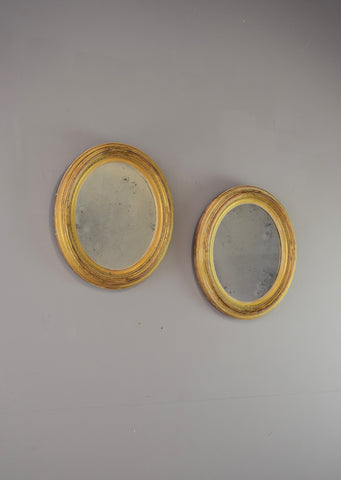 Pair of Oval English Gilt Mirrors | Rough Old Glass