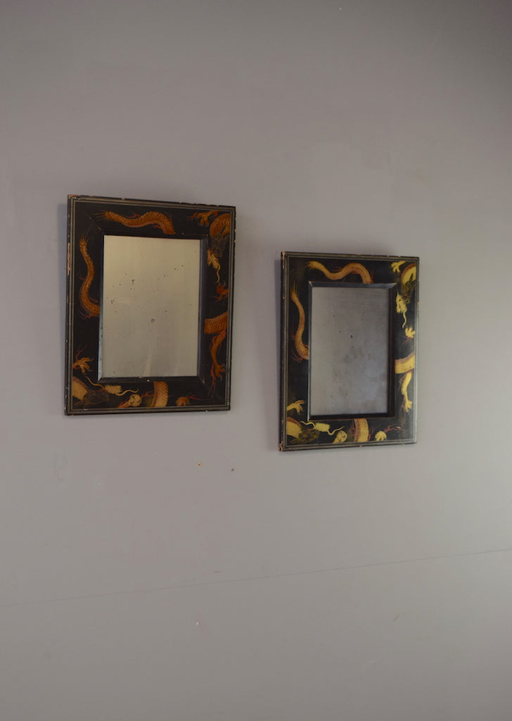 Pair of Oriental Black Lacquered Mirrors