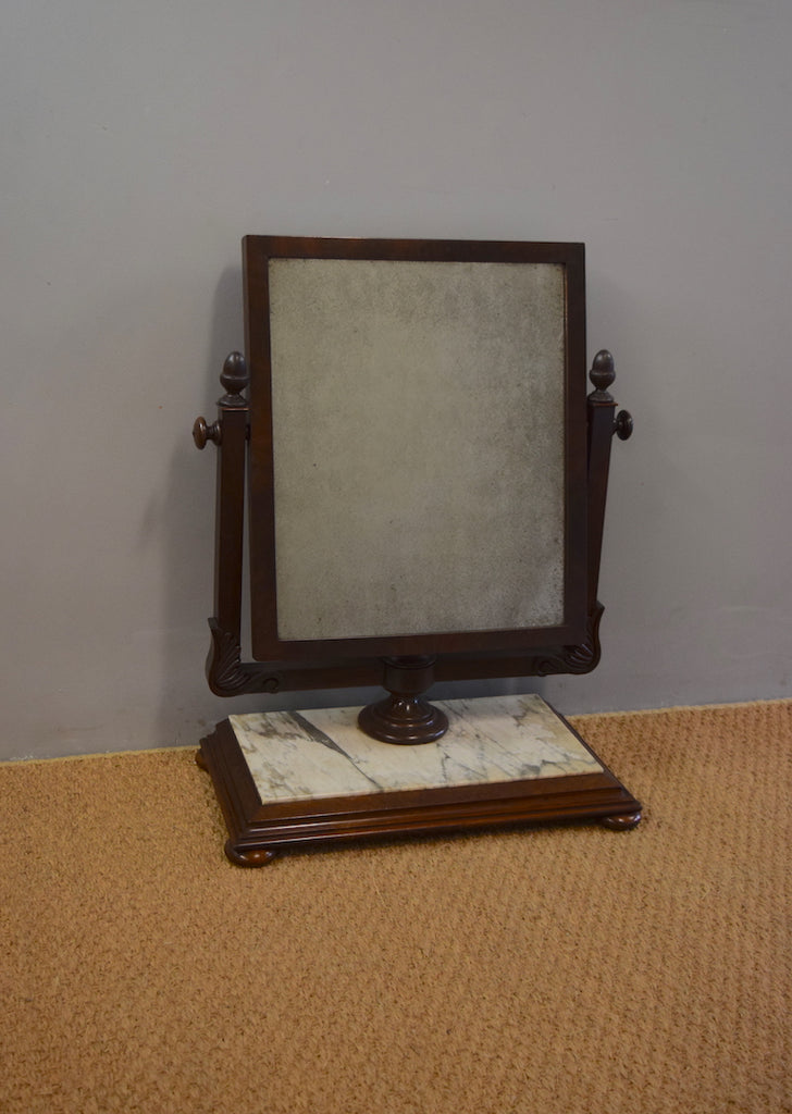 English Mahogany & Marble Dressing Table Mirror