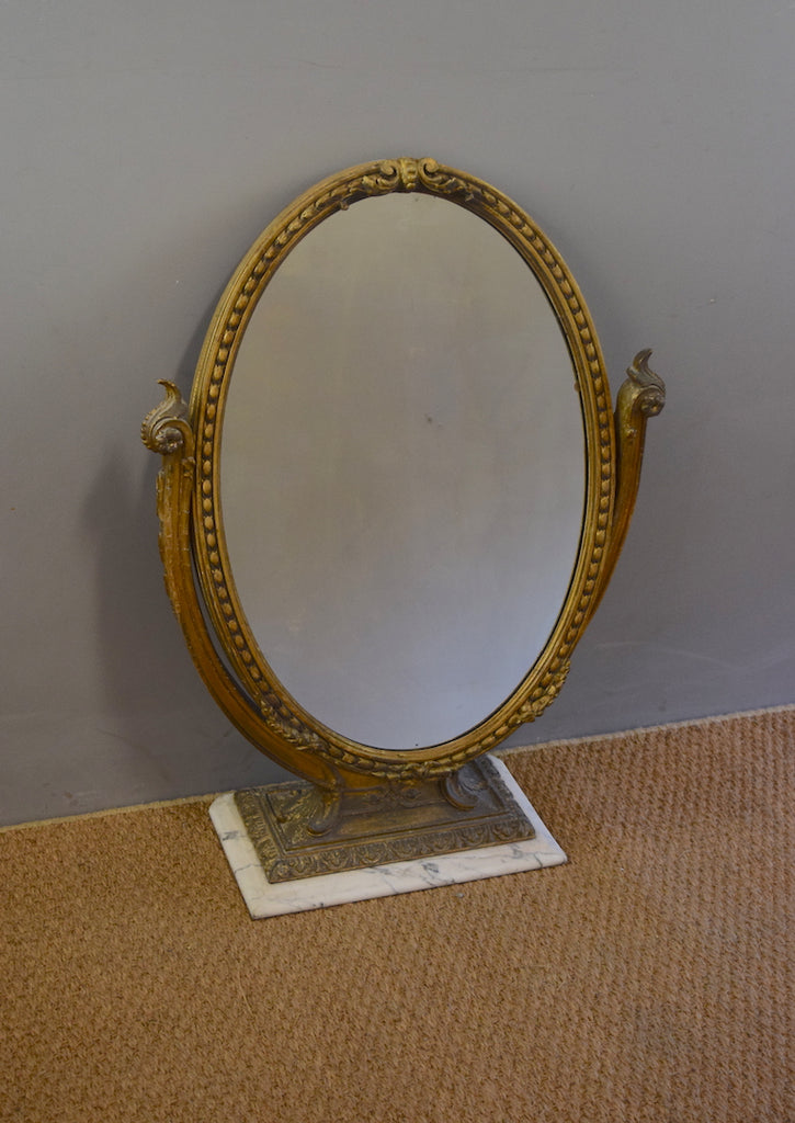 Gilt Oval Dressing Table Mirror