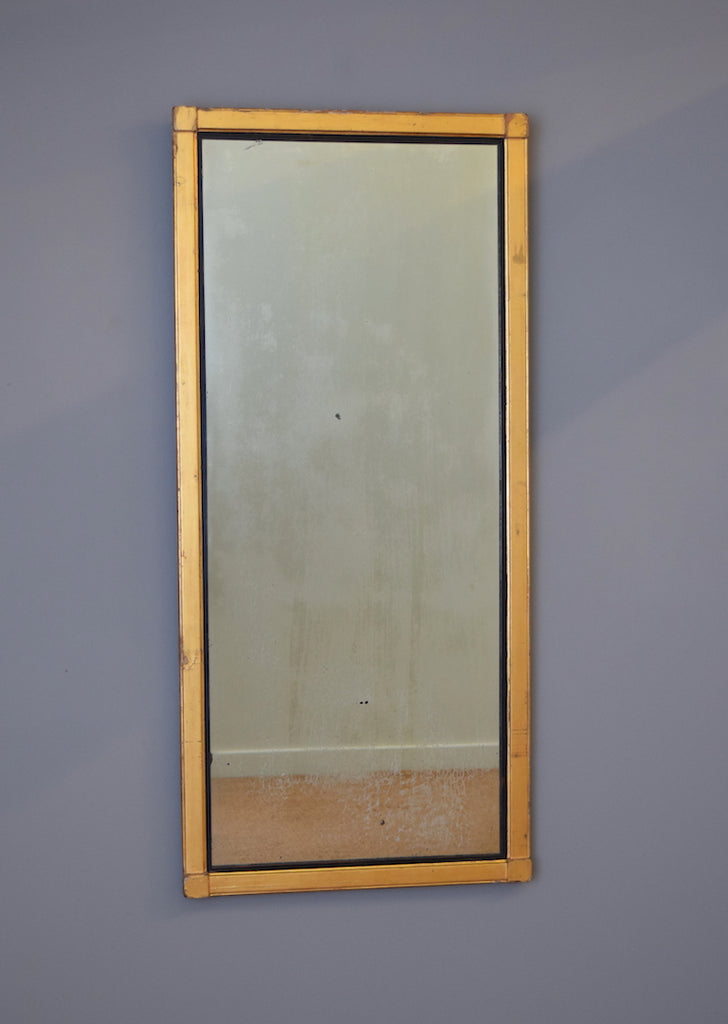 Late 19th Century English Gilt Mirror with Ebonised Slip