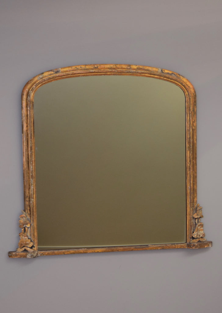 Mid 19th Century English Distressed Gilt Overmantel Mirror