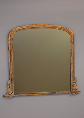 English Gilt Overmantel Mirror | Rough Old Glass