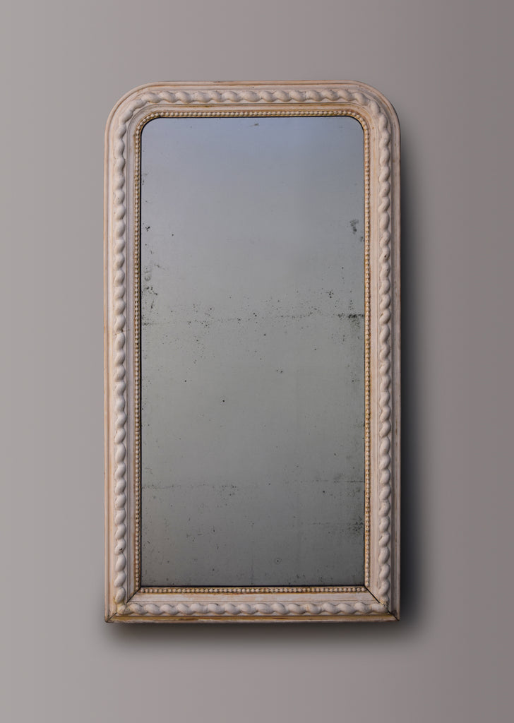 Late 19th Century French Scrubbed Gesso Mirror