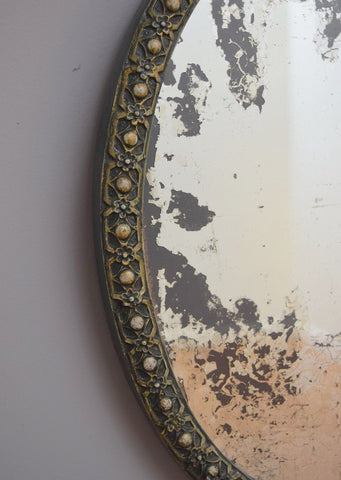 Close up of Late 19th Century French Painted Oval Mirror