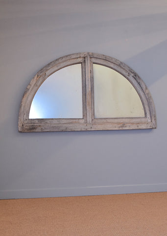 Mid 19th Century English Oak Arched Top Window Mirror