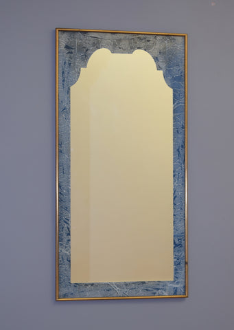 Mid 19th Century Brass Framed Mirror with Blue Hand Made Marble Paper - reputedly from The Savoy Hotel, inscription to the reverse is Floor 8, Room 2
