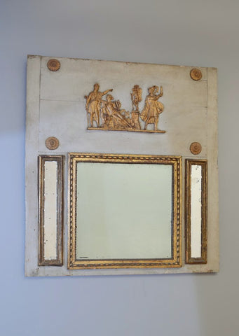 Late 19th Century French Partial Gilt Trumeaux Mirror