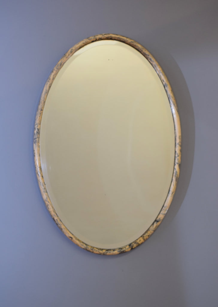 Oval Faux Marble Mirror