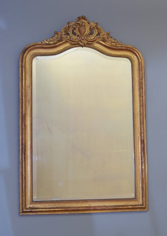 Late 19th Century French Camel Topped Crested Mirror