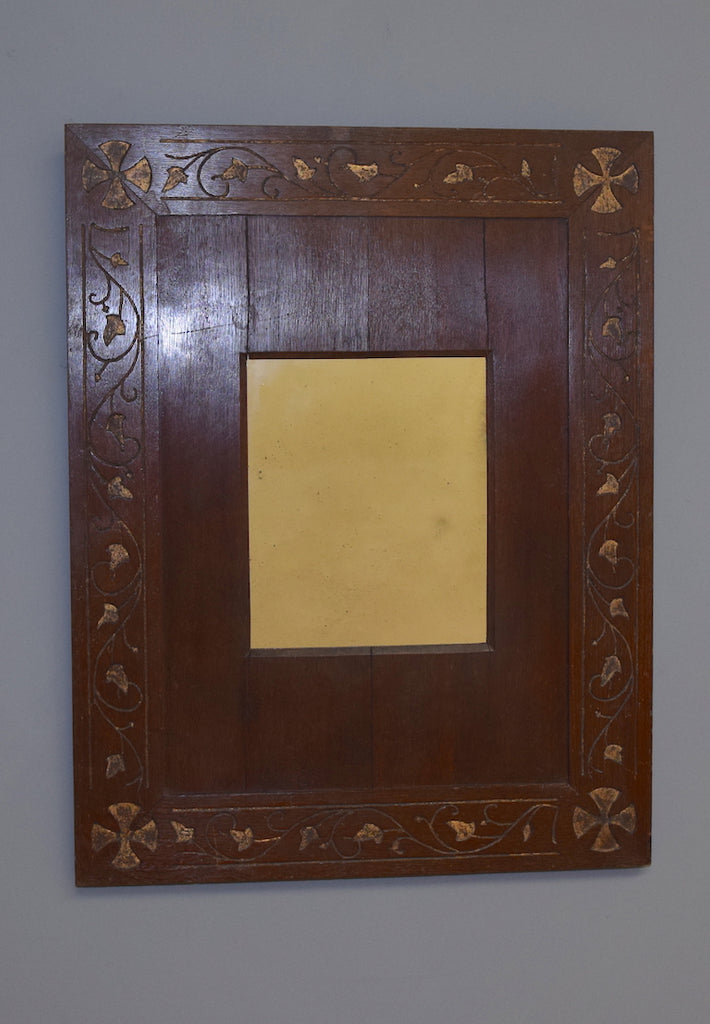 An unusual Irish Carved and Partial Gilt Wooden Panelled Mirror circa. 1880