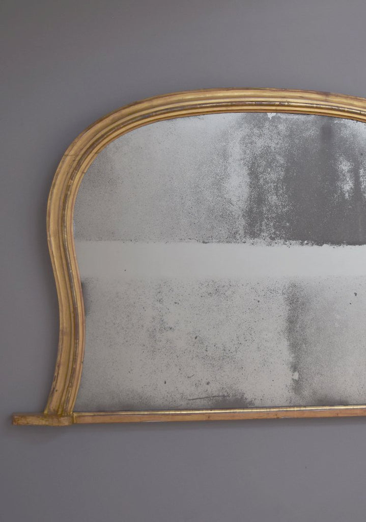 Mid 19th Century English Gilt Hipped Overmantel Mirror