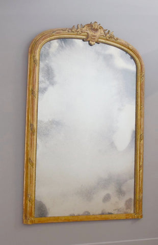 Late 19th Century French Crested Gilt Mirror