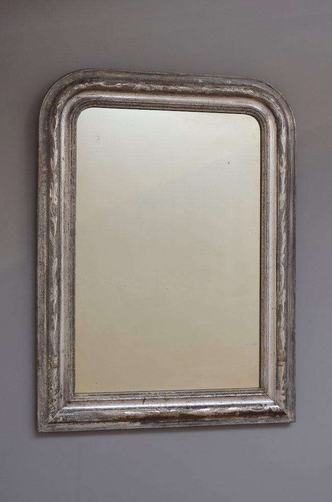 Late 19th Century French Silver Gilt Mirror with Black Bole Undertones