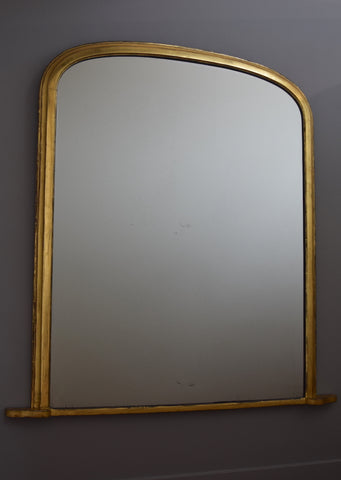Large Mid 19th Century English Gilt Overmantel Mirror