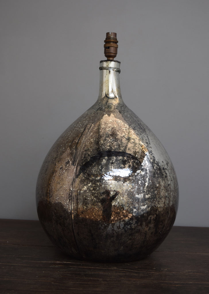 Vintage Distressed Silvered Demijohn Lamp