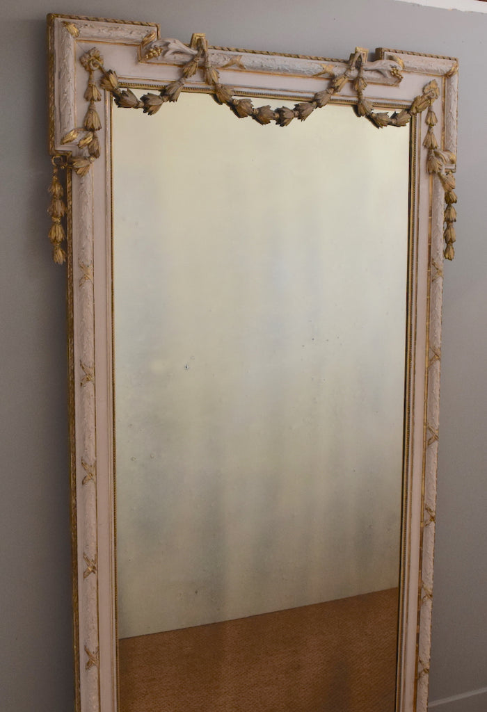Large French Partial Gilt Mirror