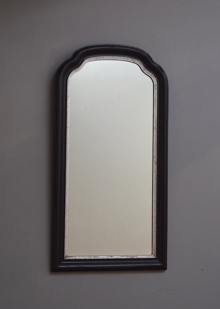French Ebonised Mirror with Silver Gilt Detail