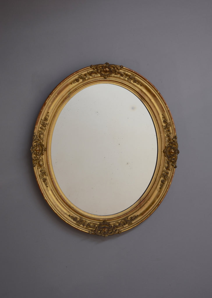 French Gilt Oval Mirror