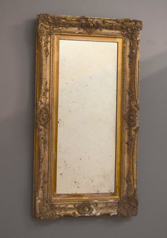 Late 19th Century Decorative Distressed English Gilt Mirror