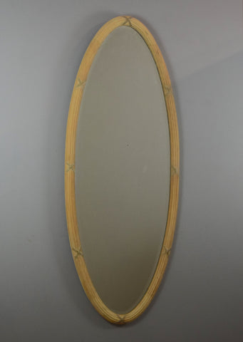 English Scrubbed Pine Oval Mirror
