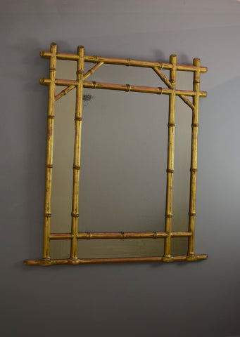 English Faux Bamboo Mirror