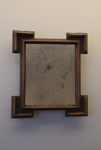 Early 20th Century Carved Tramp Art Mirror