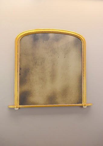 Late 19th Century Gilt Arched Topped Overmantel Mirror with Ceramic Pad Feet